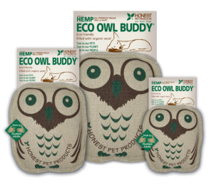 An owl dog toy in 3 different sizes